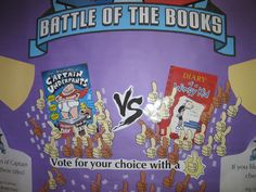 Interactive library bulletin board - vote for your favorite book with thumbs up