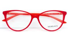 New Versace Eyeglasses Mod 3194 938 Red/Orange Made In Italy 54MM #VERSACE