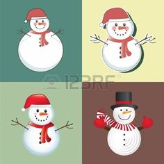 christmas card with different snowmen  photo