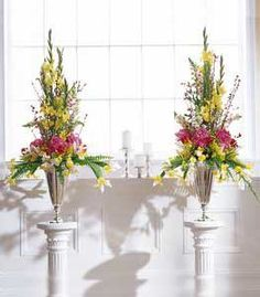 church altar flowers: yellow & pink