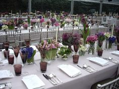 Table linen frm Table Art. Dusty Pink Stripe overlays & ivory stripe napkins. Styled by The Big Group.  www.tableart.com.au