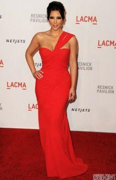 red one shoulder dresses | Buy Kim Kardashian Red One Shoulder Dress On LACMA Red Carpet Dresses ...