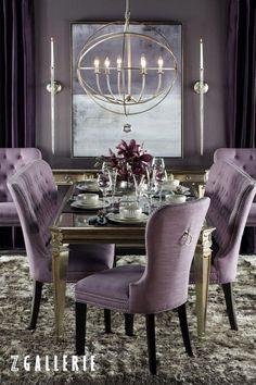 Фиолетовый цвет в интерьере столовой комнаты фото 12