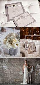Ideas originales boda, tarjetas boda y ramo novia de color plateado