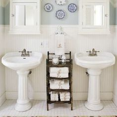 Pedestal Sinks Are The Backbone Of Country Style Bathrooms - Bonus Points For Classical Column Style