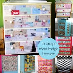 Decoupage a dresser with Mod Podge - 15 fun, unique ideas! #dressers #bedrooms