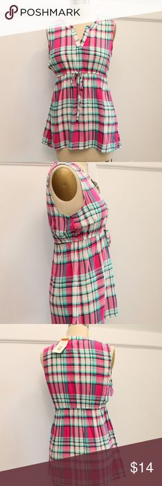 "Ma Cherie Maternity Top New  Ma Cherie Maternity Top  Sz S  Pink Plaid  Sleeveless  Rayon V-neck Elasticized drawstring  Length: 26"" in front; 29"" in back Bust: 36"" around Ma Cherie Maternity Tops Blouses"
