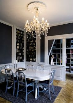 dining room - love the deep gray/blue and white.