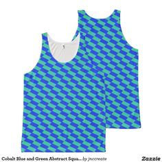 Cobalt Blue and Green Abstract Squares All-Over Print Tank Top