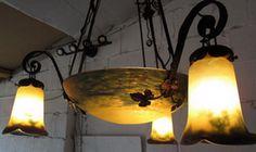 Gorgeous French art nouveau ceiling light in pate de verre, early 1900, signed V. de Villers, Nancy.
