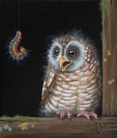 Een miniatuur van 8 x 6 cm met een uiltje en een rups, olieverf op paneel Painted Rock Animals, Painted Rocks, Owl Art, Bird Art, Fun Illustration, Pet Rocks, Bird Feathers, Photo Art, Coloring Pages