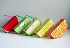 FUNCTIONS :   - THE PACKAGING : the different fruit cartons designs directly indicate what fruit the juice is made of. Very simple idea ( fruit's slice). Very recognizable , especially for children.  -  TECHNICS :  seems easy to preserve and to transport. Very practical with the straw. Seems to be easily recyclable ( cardboard and plastic). - THE SET : Vivid colors, almost no text except the brand which is very visible on the back.