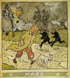 """Calendrier Hergé, 1944, Tintin et Milou sous les giboulées de Mars."""""""