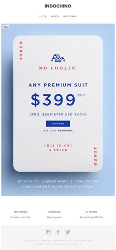 Indochino April fools 2016 SL: No Foolin' | $399 Any Premium Suit