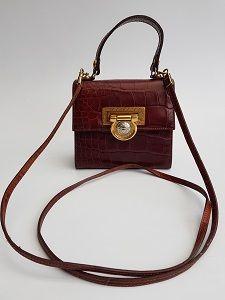 Versace Bag Gianni Versace Vintage Brown Crock Embossed Leather Shoulder Bag Italian Designer Purs Versace Bag Leather Shoulder Bag Vintage Designer Bags