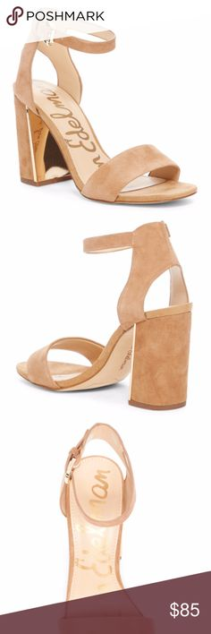 """Sam Edelman Synthia Open Toe Sandal New with box. Sizes 7.5, 8 and 9.5 available.  Details A gleaming plate at the interior heel adds modern kick to these strappy suede heels.  Sizing: True to size. M=standard width  - Open toe - Adjustable strap with buckle closure - Covered block heel - Approx. 3.75"""" heel - Imported Materials Suede upper/synthetic lining and sole Additional Info True to size. Sam Edelman Shoes Heels"""