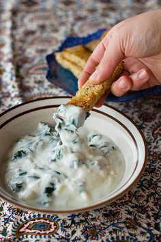 This Persian Spinach and Yogurt Dip is an all time favorite made with a handful of ingredients. So delicious you can't stop eating it! Dip Recipes, Snack Recipes, Kitchen Recipes, Snacks, Yummy Appetizers, Appetizer Recipes, Yogurt Dip Recipe, Dips, Cant Stop Eating
