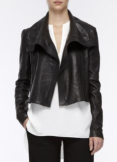 Asymmetric Leather Jacket by Vince