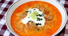 Csángó gulyás recept: A Csángó gulyás, egy laktató, ízletes leves, amit jó szívvel ajánlok mindenkinek, aki szereti a savanyú káposztás ételeket. :) Próbáljátok ki ezt a Csángó gulyás receptet! ;) Hungarian Recipes, Hungarian Food, Goulash, Chowder, Thai Red Curry, Nutella, Stew, Soup Recipes, Food Porn