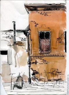 Купить Любимый город акварель - оранжевый, акварельный рисунок, старый город, акварельная бумага, акварель