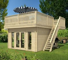 Garden home landscaping wooden sun terrace stairs