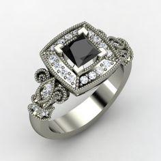 Princess Black Diamond Palladium Ring with Diamond | Dauphine Ring | Gemvara