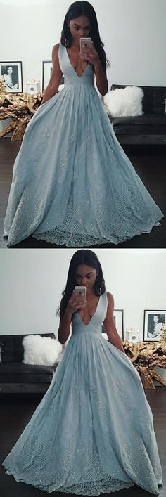 Fashion Light Blue A-line V Neck Long Prom Dresses… -  Prom shopping is alive and well on Pinterest. Compare prices for this @ Wrhel.com before you commit to buy. #Prom