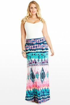 Plus-Size Maxi Dresses: Strapless Tie Dye Dress, Sizes 1X-3X ...