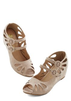 Grand Ole Opera Wedge in Cream - Mid, Faux Leather, Tan, Solid, Cutout, Wedding, Party, Bridesmaid, Good, Wedge, Variation, Top Rated
