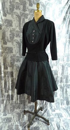 Vintage 1950s 50s Black Designer Party Dress Wool and Taffeta Size Small by Harmay