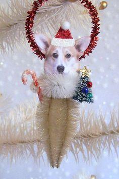Corgi Christmas Ornament Feather Tree by TreePets on Etsy, $12.00