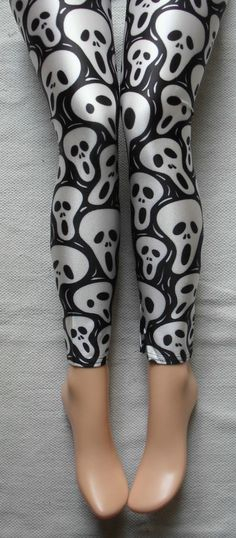 BLACK THE SCREAM LEGGINGS S/M GOTHIC GOTH SKULL LYCRA MUNCH EDVARD ZOMBIE PUNK #HARLEQUIN