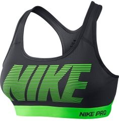 2001088e3da79 Nike Womens Pro Classic Padded Graphic Sports Bra Dark Grey Voltage Green  Size Large -- Read more info by clicking the link on the image.