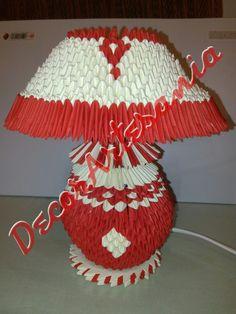 Origami 3d Lampara de mesa color rojo y perla