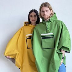 Set of 2 poncho raincoats. You can choose color. Our bright raincoats poncho made of waterproof and breathing materials. You could stay dry under the rain up to 10 hours. Each poncho has a damp-proof zip on the front pocket. We provide our raincoat with hand bag.   Cycling, Walking, Travelling, Festivals Key features:- Dimensions: B 130 x 97 cm L (without hood)- Size: One Size- Weight: 390 g- Damp-proof front pocket with zippered for your valuables. However in case of severe rain we recommended Poncho Raincoat, Rain Poncho, Cycle Shop, Under The Rain, Fit Back, Raincoats For Women, Festivals, Travelling, Cycling