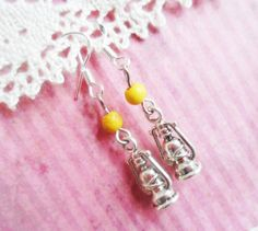 Silver lantern earrings with yellow man-made turquoise beads, vintage inspired jewelry, Selma Dreams, gifts under 15 usd, silver jewellery by SelmaDreams on Etsy