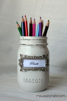 DIY Shabby Chic Mason Jar Desk Set tutorial - love the silver label holders from Joann n hobby lobby
