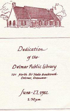 A Delmar Public Library Dedication program, June 27, 1982.