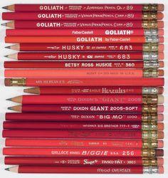 Large-diameter red pencils