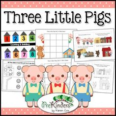 The Three Little Pigs fairy tale activity pack includes activities for Literacy, Math, Science, Art, Dramatic Play, Centers, and more!Use this 57-page pack for a week-long theme unit or pick and choose activities for book connection teaching.Includes 21+ activities with 15 printables.