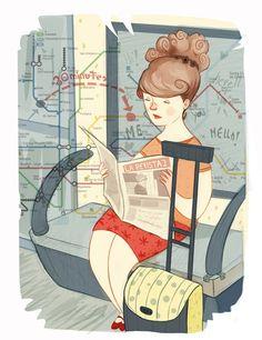 Reading on the subway / Leyendo en el metro (ilustración de Laura Pérez)