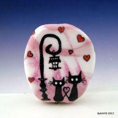 """I WILL ALWAYS LOVE YOU"" byKAYO a Handmade CAT Lampwork Art Glass Focal Bead SRA #Lampwork"
