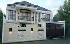 Desain Rumah Bapak Adi di Jagakarsa, Jakarta Selatan #desainrumah #jasaarsitek #arsitek Gate Wall Design, Front Wall Design, House Fence Design, 3 Storey House Design, Exterior Wall Design, Modern Exterior House Designs, Bungalow House Design, Modern Small House Design, Modern Architecture House