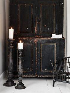 old, black cabinet
