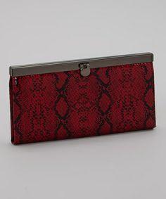 Another great find on #zulily! Red Snakeskin Clutch #zulilyfinds