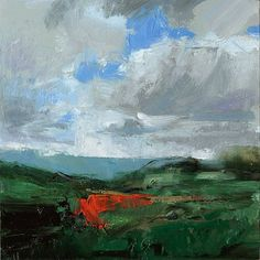 """Scott Conary """"Oregon Untitled 1"""" 6x6"""" Oil on Panel - the cad red heat in the center"""