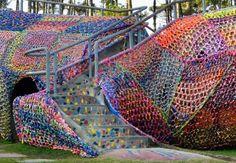 lovely close-up shot of Olek's massive crochet-covered crocodile, via Beautiful/Decay Artist & Design