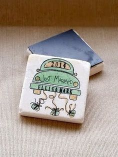 Personalized Just Married Wedding Favors - Save the Date Magnets - Set of 25
