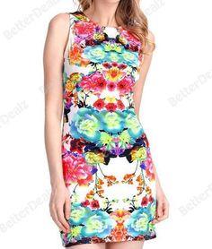 Retro Elegance Women Sleeveless Flower Print Dress