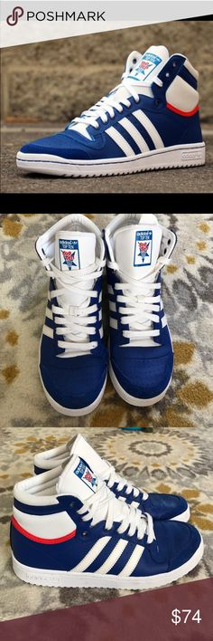 Adidas top ten high top sneaker Adidas top ten high top/ Collegiate royal blue big kid size 6/ women's size 7.5. Worn once , in almost new condition . Adidas Shoes Sneakers